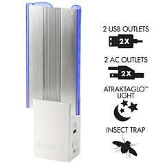 DynaTrap® Flylight Insect Trap with 2 AC Outlets and 2USB Ports - White
