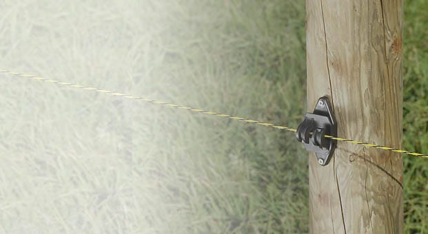 fence wire running through an insulator on a fence post