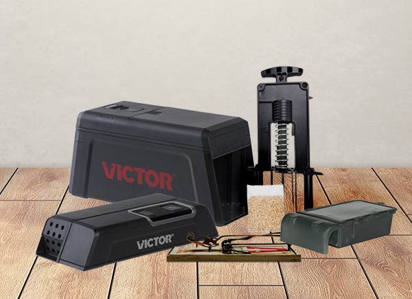 A collection of Victor rodent traps and repellents