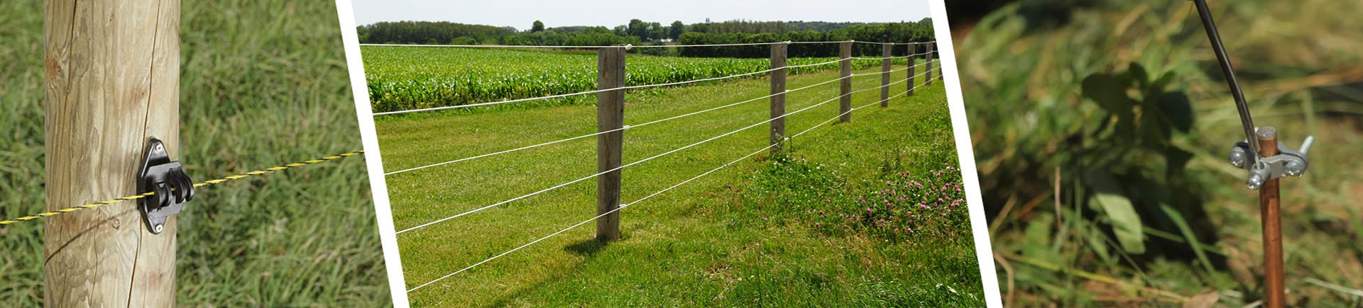 A closeup of a fence insulator, a fence dividing a field, and a closeup of a fence grounding rod